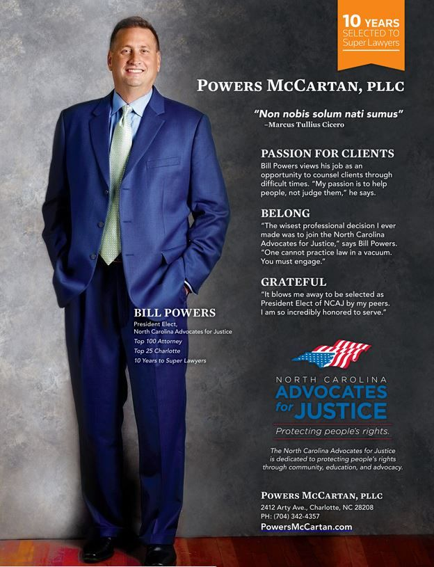 Bill Powers included in SuperLawyers Magazine Top 100 for North Carolina