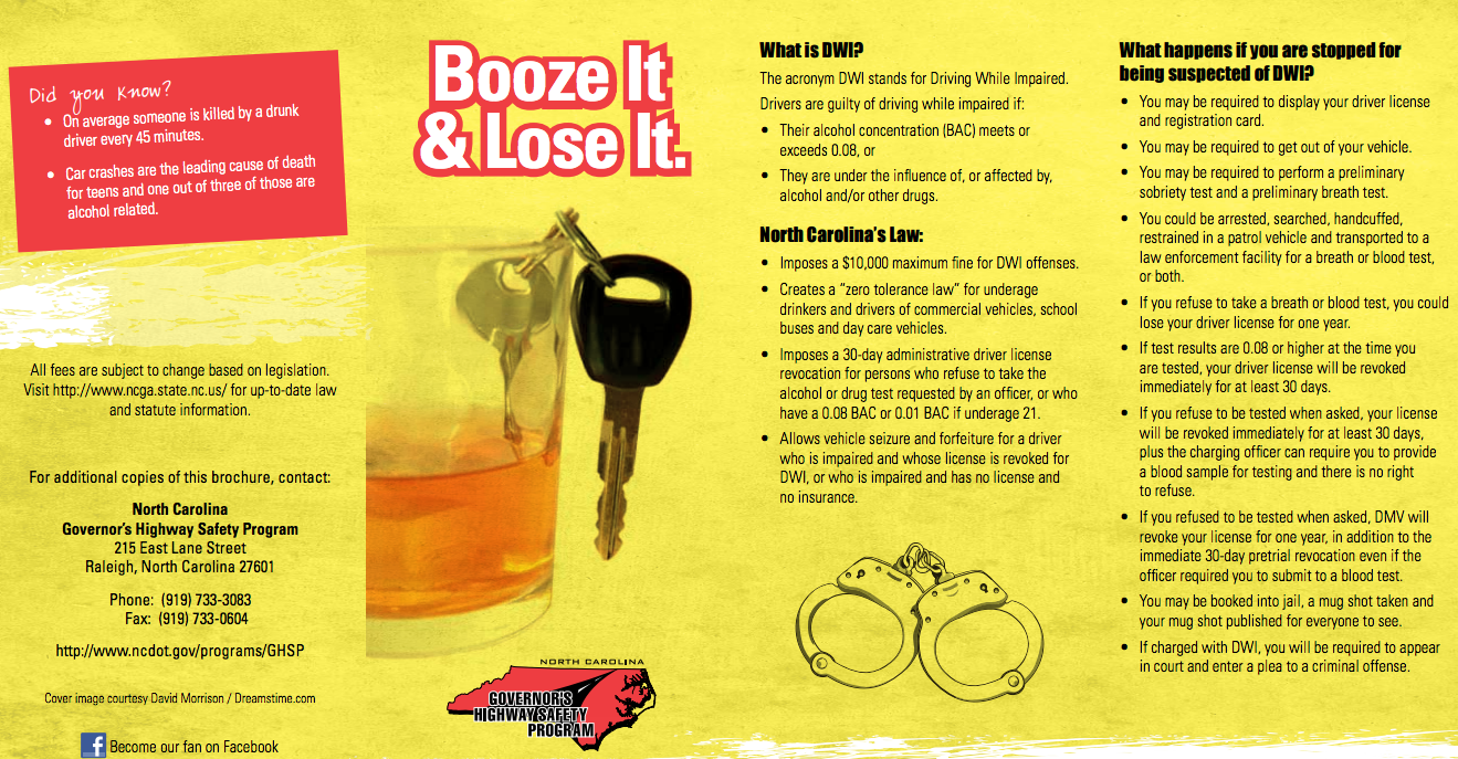Booze It and Lose It Brochure