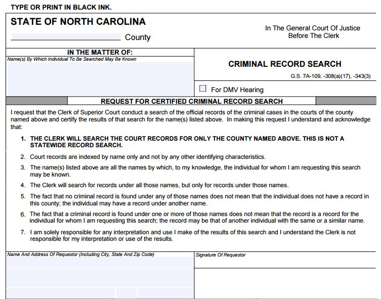 Criminal Record Search - What to File to get a Copy of Your Record in North Carolina - NC Criminal Defense Legal Help