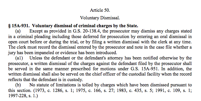 Dismissal of Charges