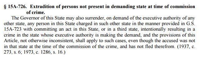 Extradition Governor Surrender In North Carolina 2016