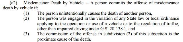 Misdemeanor Death by Vehicle 2015