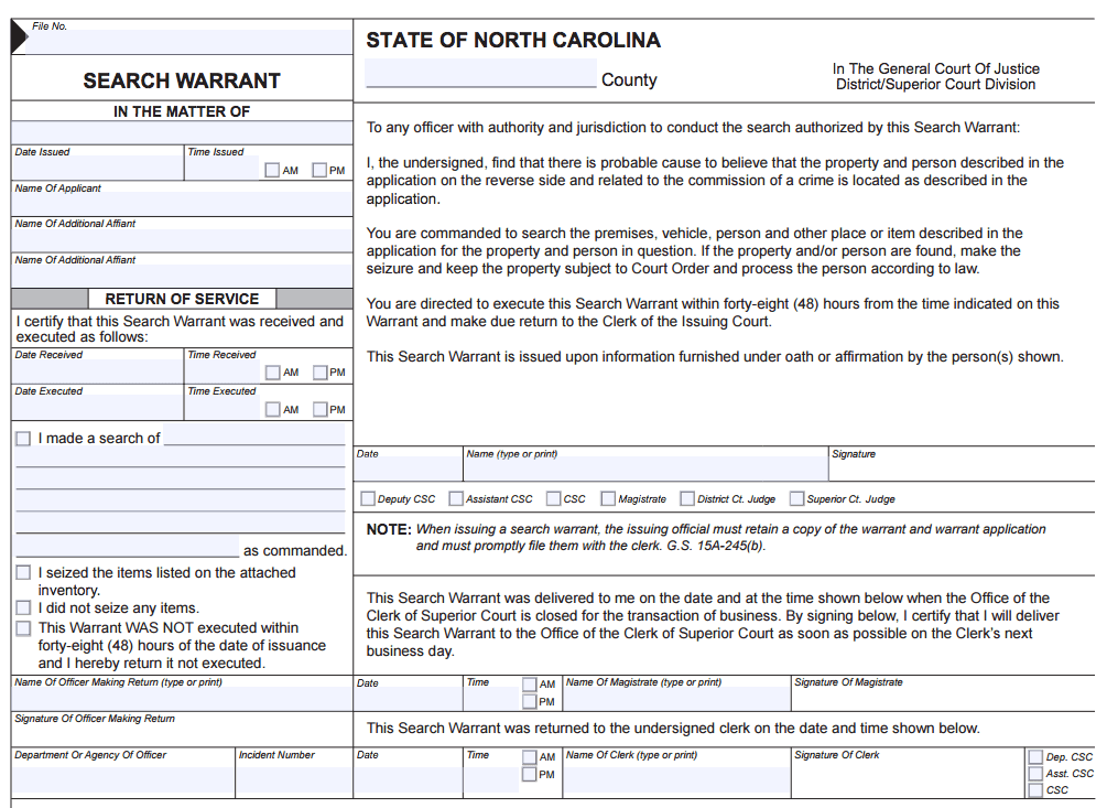 North Carolina Search Warrant Order