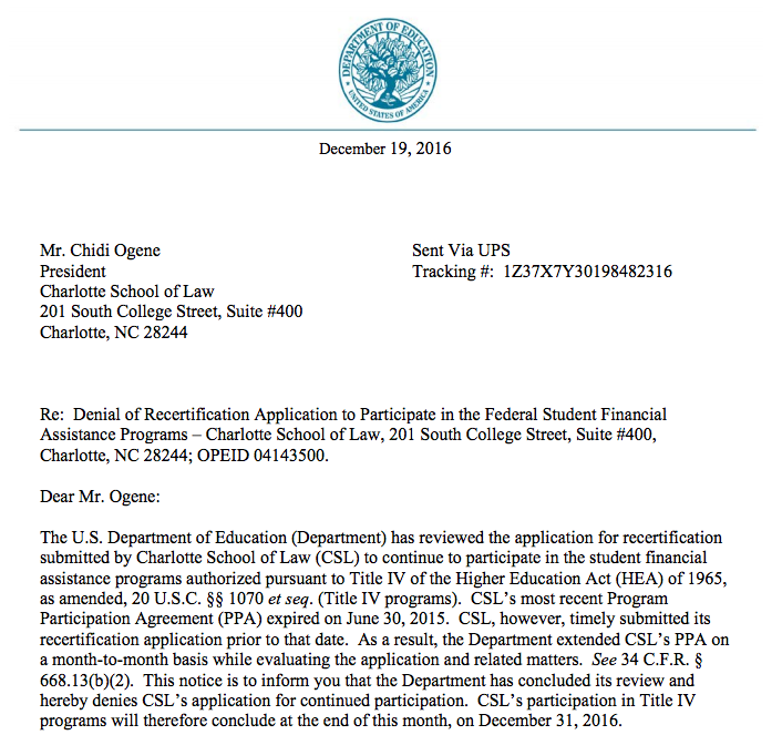 Charlotte School of Law Denial Correspondence 2016