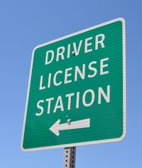 Driver License Station sign